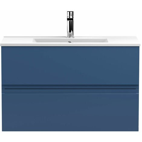 Hudson Reed Urban Wall Hung 2-Drawer Vanity Unit with Basin 2 Satin Blue - 800mm Wide