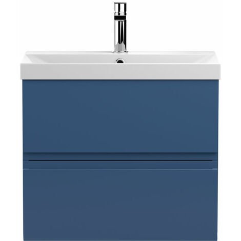 Hudson Reed Urban Wall Hung 2-Drawer Vanity Unit with Basin 3 Satin Blue - 600mm Wide