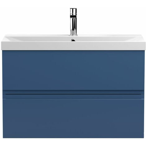 Hudson Reed Urban Wall Hung 2-Drawer Vanity Unit with Basin 3 Satin Blue - 800mm Wide