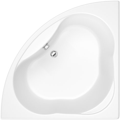 Hudson Reed Vasca da Bagno Angolare - Acrilico Bianco - Design Salva-Spazio ad Angolo Reversibile - con Pannello Vasca - 1350 x 1350 x 560mm