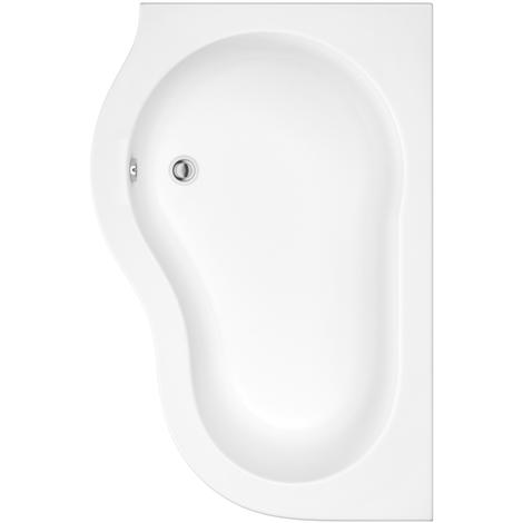 Hudson Reed Vasca da Bagno Angolare - Acrilico Bianco - Design Salva-Spazio ad Angolo Reversibile - con Pannello Vasca - 1500 x 1000 x 565mm