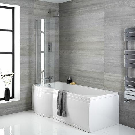 Hudson Reed Vasca da Bagno da Parete - Acrilico Bianco - Design Salva-Spazio con Parete e Pannello Vasca - 1675 x 850 x 555mm