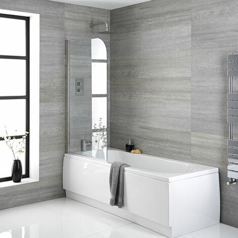 Hudson Reed Vasca da Bagno da Parete - Acrilico Bianco - Design Salva-Spazio con Parete e Pannello Vasca - 1700 x 700 x 550mm