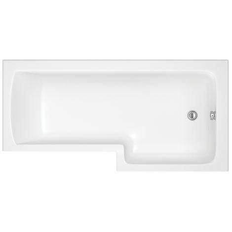 Hudson Reed Vasca da Bagno da Parete - Acrilico Bianco - Design Salva-Spazio con Parete e Pannello Vasca - 1700 x 850 x 550mm