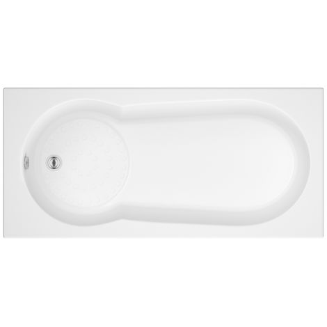 Hudson Reed Vasca da Bagno Rettangolare da Parete - Acrilico Bianco - Design con Seduta Asimmetrica - 1700 x 800 x 550mm