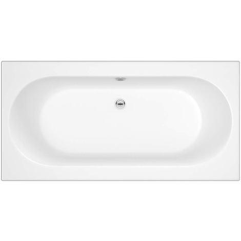 Hudson Reed Vasca da Bagno Rettangolare da Parete - Acrilico Bianco - Design con Seduta Ovale - 1700 x 750 x 550mm
