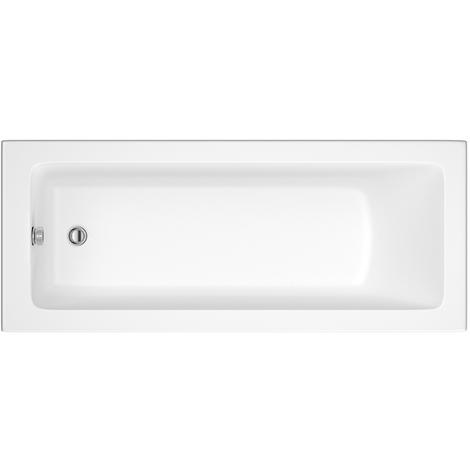 Hudson Reed Vasca da Bagno Rettangolare da Parete - Acrilico Bianco - Design con Seduta Rettangolare - 1500 x 700 x 550mm
