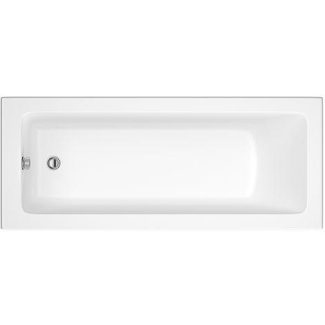 Hudson Reed Vasca da Bagno Rettangolare da Parete - Acrilico Bianco - Design con Seduta Rettangolare - 1700 x 750 x 550mm