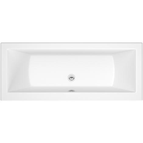 Hudson Reed Vasca da Bagno Rettangolare da Parete - Acrilico Bianco - Design con Seduta Rettangolare - 1800 x 800 x 550mm