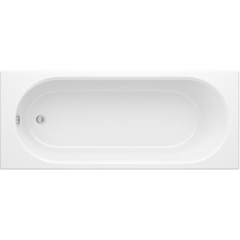 Hudson Reed Vasca da Bagno Rettangolare da Parete - Acrilico Bianco - Design con Seduta Rotonda - 1500 x 700 x 550mm