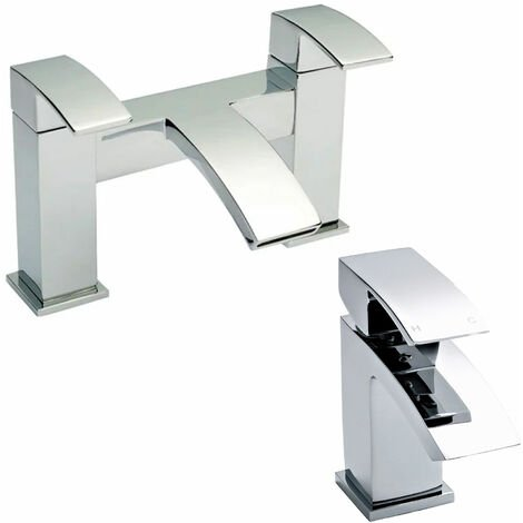 Hudson Reed Vibe Mono Basin Mixer Tap and Bath Filler Tap, Chrome