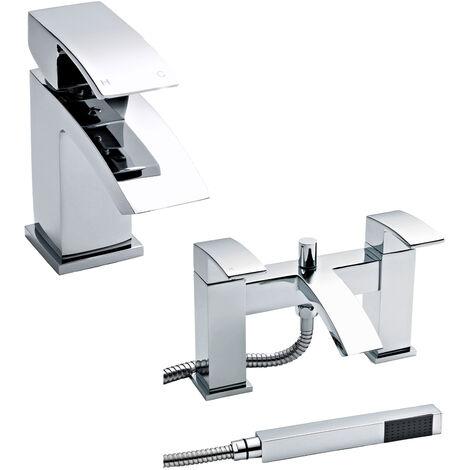 Hudson Reed Vibe Mono Basin Mixer Tap and Bath Shower Mixer Tap, Chrome