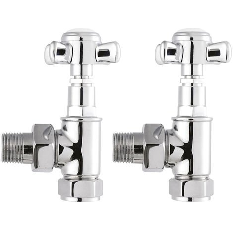 Hudson Reed Victorian Crosshead Angled Radiator Valves Pair - Chrome