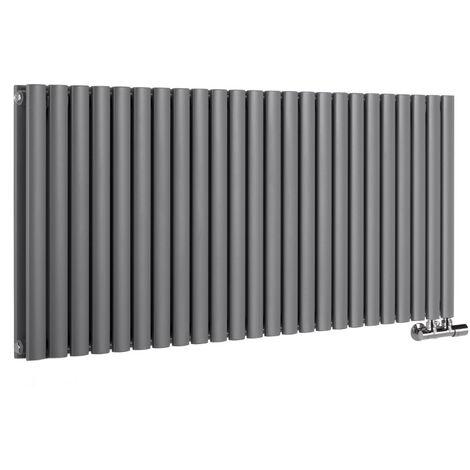 Hudson Reed Vitality Caldae – Radiateur Design Horizontal – Raccordement Central – Anthracite – 63,5 x 141,1cm Double Rang