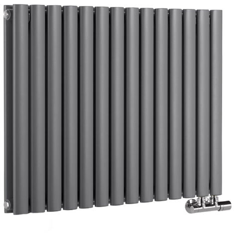 Hudson Reed Vitality Caldae – Radiateur Design Horizontal – Raccordement Central – Anthracite – 63,5 x 83,4cm Double Rang