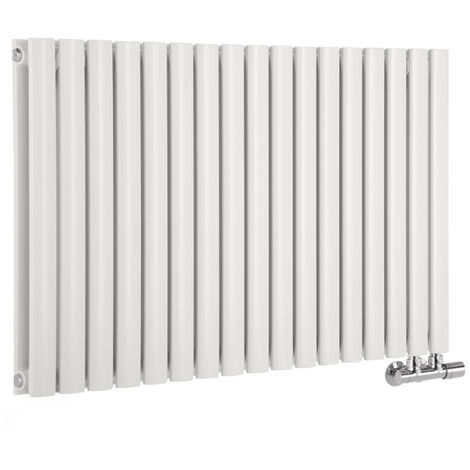 Hudson Reed Vitality Caldae – Radiateur Design Horizontal – Raccordement Central – Blanc – 63,5 x 100cm Double Rang