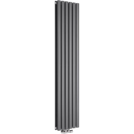 Hudson Reed Vitality Caldae – Radiateur Design Vertical – Raccordement Central – Anthracite – 160 x 35,4cm Double Rang