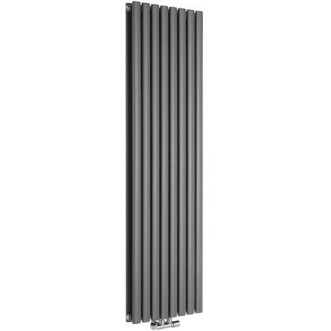 Hudson Reed Vitality Caldae – Radiateur Design Vertical – Raccordement Central – Anthracite – 160 x 47,2cm Double Rang