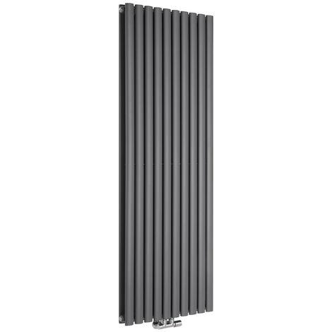 Hudson Reed Vitality Caldae – Radiateur Design Vertical – Raccordement Central – Anthracite – 160 x 59cm Double Rang