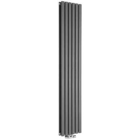 Hudson Reed Vitality Caldae – Radiateur Design Vertical – Raccordement Central – Anthracite – 178 x 35,4cm Double Rang