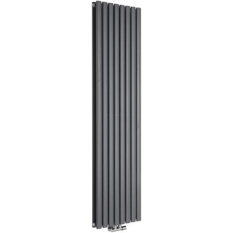 Hudson Reed Vitality Caldae – Radiateur Design Vertical – Raccordement Central – Anthracite – 178 x 47,2cm Double Rang