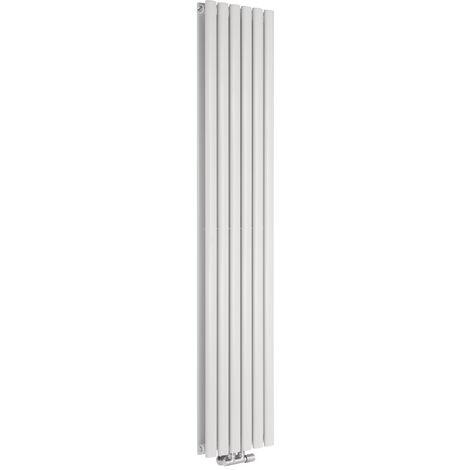 Hudson Reed Vitality Caldae – Radiateur Design Vertical – Raccordement Central – Blanc – 178 x 35,4cm Double Rang