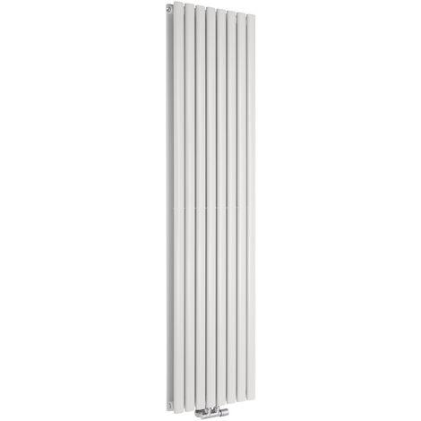 Hudson Reed Vitality Caldae – Radiateur Design Vertical – Raccordement Central – Blanc – 178 x 47,2cm Double Rang