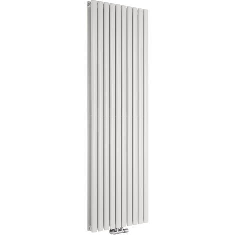 Hudson Reed Vitality Caldae – Radiateur Design Vertical – Raccordement Central – Blanc – 178 x 59cm Double Rang