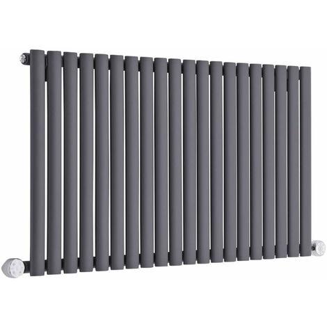 Hudson Reed Vitality Électrique – Radiateur Design Horizontal Colonnes Ovales – Anthracite – 63,5 x 118 cm