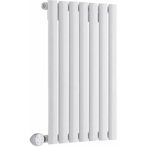 Hudson Reed Vitality Électrique – Radiateur Design Horizontal Colonnes Ovales – Blanc – 63,5 x 41,5 cm