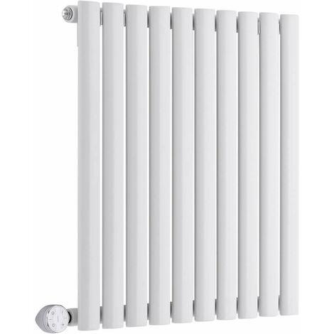 Hudson Reed Vitality Électrique – Radiateur Design Horizontal Colonnes Ovales – Blanc – 63,5 x 59,5 cm