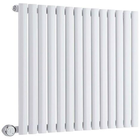 Hudson Reed Vitality Électrique – Radiateur Design Horizontal Colonnes Ovales – Blanc – 63,5 x 83,4 cm