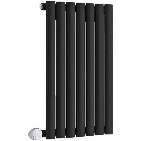 Hudson Reed Vitality Électrique – Radiateur Design Horizontal Colonnes Ovales – Noir – 63,5 x 41,5 cm