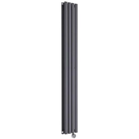 Hudson Reed Vitality Électrique – Radiateur Design Vertical – Anthracite – 160 x 23,6cm Double Rang