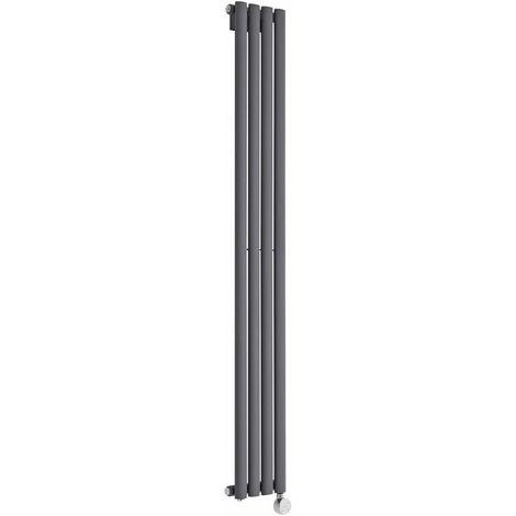 Hudson Reed Vitality Électrique - Radiateur Design Vertical Colonnes Ovales - Anthracite - 160 x 23,6 cm