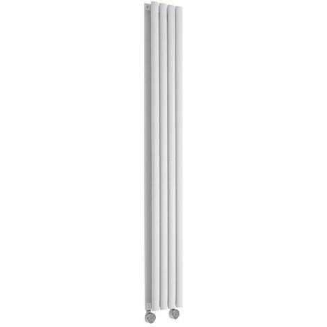 Hudson Reed Vitality Électrique - Radiateur Design Vertical Colonnes Ovales - Blanc - 160 x 23,6 cm - Double