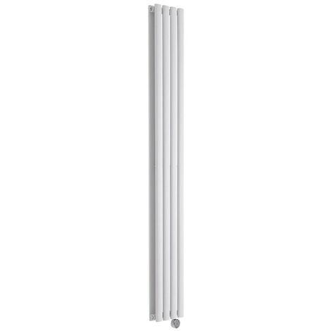 Hudson Reed Vitality Électrique - Radiateur Design Vertical Colonnes Ovales - Blanc - 178 x 23,6 cm - Double