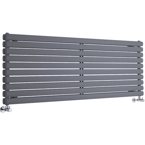 Hudson Reed Vitality – Radiateur Design Horizontal – Anthracite – 59 x 178cm Double Rang