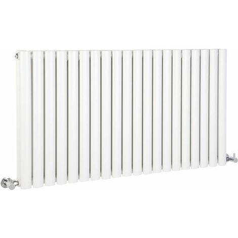 Hudson Reed Vitality – Radiateur Design Horizontal – Blanc – 63,5 x 118cm Double Rang