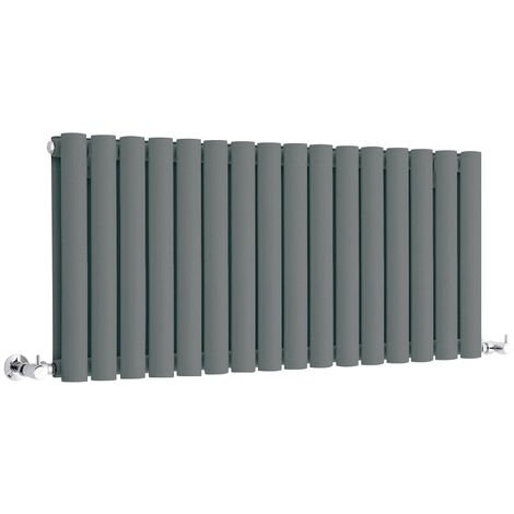 Hudson Reed Vitality – Radiateur Design Horizontal Compact – Anthracite – 40 x 100cm Double Rang