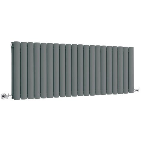 Hudson Reed Vitality – Radiateur Design Horizontal Compact – Anthracite – 40 x 118cm Double Rang