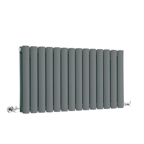 Hudson Reed Vitality – Radiateur Design Horizontal Compact – Anthracite – 40 x 83,4cm Double Rang