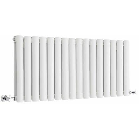 Hudson Reed Vitality – Radiateur Design Horizontal Compact – Blanc – 40 x 100cm Double Rang