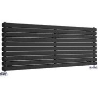 Hudson Reed Vitality – Radiateur Design Horizontal – Noir – 59 x 160cm Double Rang