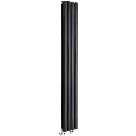 Hudson Reed Vitality – Radiateur Design Vertical – Noir – 160 x 23,6cm Double Rang