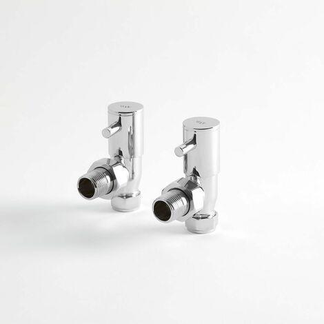 Hudson Reed Vitality - Robinets Manuels pour Radiateur et Sèche Serviettes - Raccords Equerre - Laiton Chromé - Design Moderne