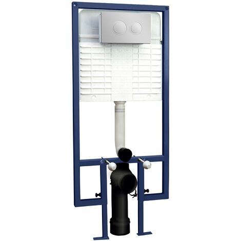 Hudson Reed Wall Hung Toilet Frame with Dual Flush Concealed Cistern - Round Plate