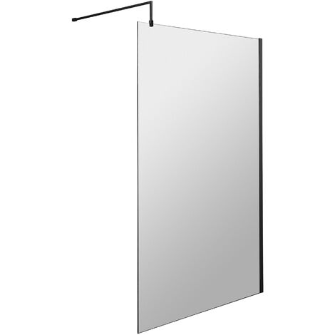 Hudson Reed Wet Room Screen with Black Support Bar 1200mm Wide - 8mm Glass
