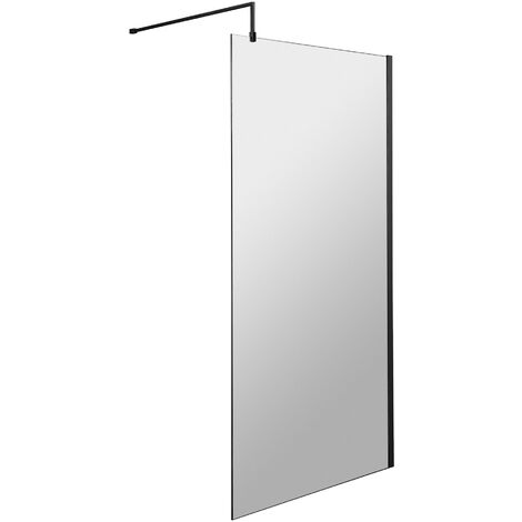 Hudson Reed Wet Room Screen with Black Support Bar 900mm Wide - 8mm Glass