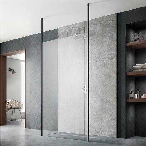 Hudson Reed Wet Room Screen with Ceiling Post 900mm Wide - 8mm Glass